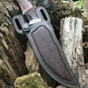 HANDMADE BOWIE KNIFE WITH LEATHER SHEATH