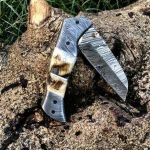 Custom Handmade Damascus Steel folding Knife