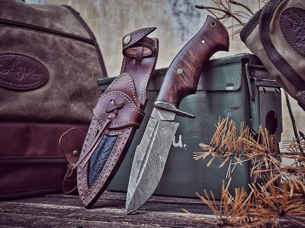 Bowie Damascus Knife With Full tang