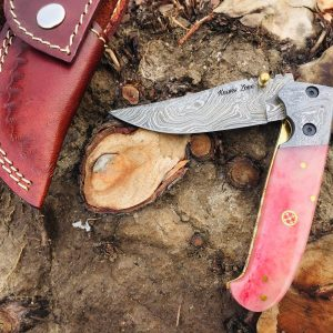 Damascus Steel Handmade Folding Knife With Leather Sheath ideal for hunting and compact knife very easy to carry and u can use this folding knife with one hand very sharp and Holds an Edge for a Long Time.