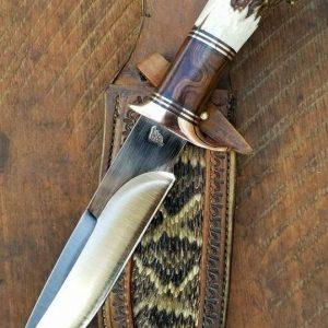 STEEL HANDMADE HUNTING KNIFE WITH ANTLER