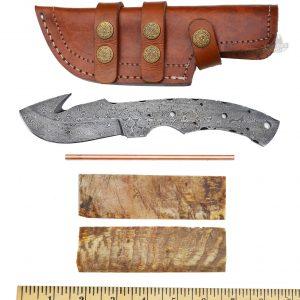Damascus Guthook Knife blank